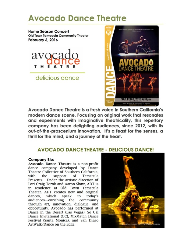 Avocado Dance Theatre 2016 home season press